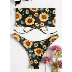 Sexy Strapless Driehoek Polyester Spandex Kleur De Bikinis Zwempak