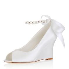 Women's Silk Like Satin Wedge Heel Peep Toe Wedges With Crystal Pearl