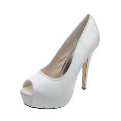 Kvinnor Satäng Stilettklack Peep Toe Plattform Pumps