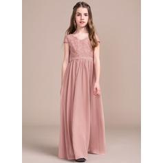 A-Line V-neck Floor-Length Chiffon Lace Junior Bridesmaid Dress