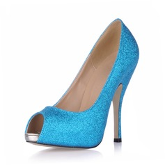 Women's Sparkling Glitter Stiletto Heel Sandals Platform Peep Toe shoes (085015295)