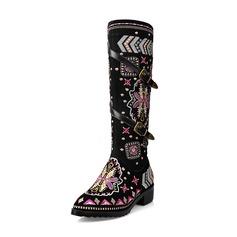 Kvinder Ægte Læder Stor Hæl Støvler Knæhøje Støvler med Blomst sko