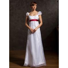 A-Linie/Princess-Linie U-Ausschnitt Bodenlang Organza Brautkleid mit Schleifenbänder/Stoffgürtel Perlen verziert