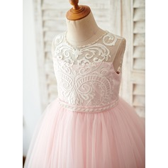 A-Line Tea-length Flower Girl Dress - Tulle/Lace Sleeveless Scoop Neck