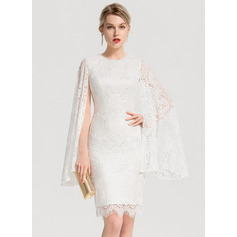 Sheath/Column Scoop Neck Knee-Length Lace Cocktail Dress (016154212)
