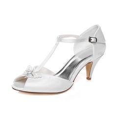 Vrouwen Satijn Cone Heel Peep Toe Sandalen