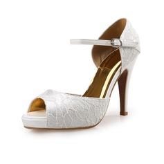 Женщины Атлас Ткань Высокий тонкий каблук На каблуках Открытый мыс обувь