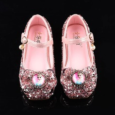 Girl's Round Toe Closed Toe Leatherette Sparkling Glitter Flat Heel Sandals Flats Flower Girl Shoes With Bowknot Velcro