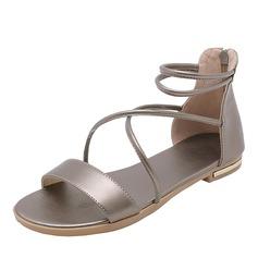 Mulheres Couro verdadeiro Sem salto Sandálias Sem salto Peep toe Sapatos abertos com Aplicação de renda sapatos