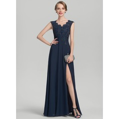 A-Line/Princess V-neck Floor-Length Chiffon Lace Mother of the Bride Dress With Beading Split Front