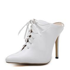 Frauen PU Stöckel Absatz Absatzschuhe Stiefel Stiefelette mit Zuschnüren Schuhe