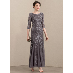 Sheath/Column Scoop Neck Ankle-Length Tulle Sequined Mother of the Bride Dress (008195394)