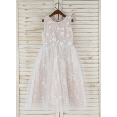 A-Line Tea-length Flower Girl Dress - Tulle/Lace Sleeveless Scoop Neck With Flower(s) (010172358)