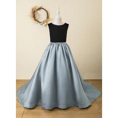 A-Line Floor-length Flower Girl Dress - Velvet Sleeveless Scoop Neck