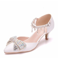 Women's Leatherette Low Heel Closed Toe With Bowknot Tassel Crystal