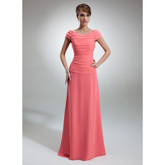 A-Line/Princess Off-the-Shoulder Floor-Length Chiffon Mother of the Bride Dress With Ruffle Beading