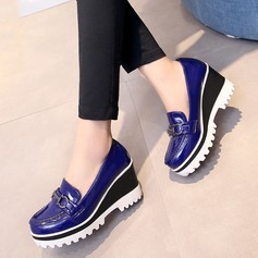 Women's Patent Leather Wedge Heel Closed Toe Wedges With Buckle shoes