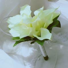 Simples e elegante Forma livre Cetim/Seda artificiais Buquês de noiva -