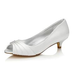 De mujer Satén Tacón bajo Encaje Sandalias Zapatos Que Se Pueden Teñir