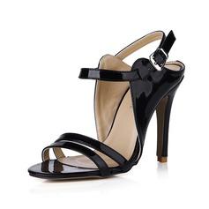Женщины Лакированная кожа Высокий тонкий каблук Сандалии На каблуках Открытый мыс Босоножки с пряжка обувь