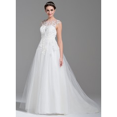 De baile Decote redondo Sweep/Brush trem Tule Vestido de noiva com Bordado Apliques de Renda lantejoulas