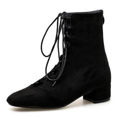 Kvinner Semsket Lav Hæl Lukket Tå Støvler Ankelstøvler med Blondér sko