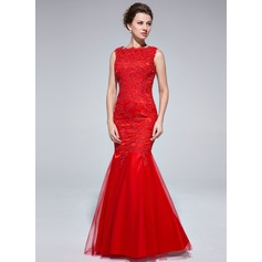 Trumpet/Mermaid Scoop Neck Floor-Length Tulle Evening Dress With Appliques Lace (017025685)