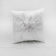 Elegant Ring Kissen in Satin mit Bogen/Blumen
