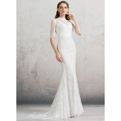 Sheath/Column High Neck Sweep Train Lace Wedding Dress