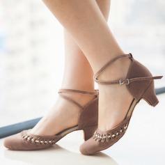 Femmes Suède Talons Escarpins Salle de bal avec Lanière de cheville Chaussures de danse