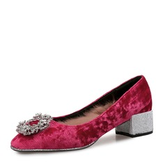 Frauen Veloursleder Stämmiger Absatz Absatzschuhe Geschlossene Zehe mit Strass Schnalle Pelz Schuhe