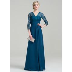 Vestidos princesa/ Formato A Decote V Longos tecido de seda Vestido para a mãe da noiva com Pregueado