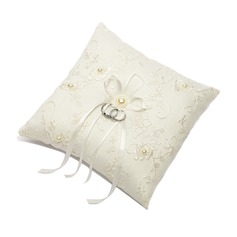 Square Ring Pillow With Ribbons/Faux Pearl