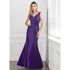 Trumpet/Mermaid V-neck Floor-Length Taffeta Bridesmaid Dress With Ruffle Flower(s)