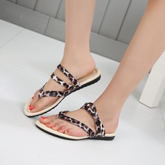 Women's Leatherette Flat Heel Flats Peep Toe Flip-Flops With Animal Print shoes