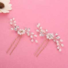 Ladies Beautiful Alloy/Imitation Pearls Hairpins (Set of 2) (042123777)