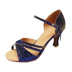 Femmes Tissu Talons Sandales Latin avec Boucle Chaussures de danse