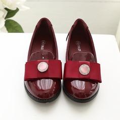 Girl's Closed Toe Lakleer Bloemenmeisje schoenen met strik