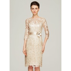 Sheath/Column Scoop Neck Knee-Length Lace Cocktail Dress With Beading Flower(s) (016111354)