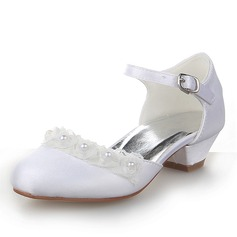 Closed Toe Satin Low Heel Pumps Flower Girl Shoes With Buckle Imitation Pearl