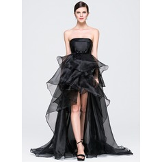 A-Line/Princess Strapless Asymmetrical Organza Prom Dresses With Bow(s) Cascading Ruffles