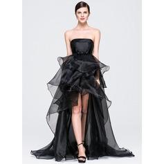 Corte A/Princesa Estrapless Asimétrico Organdí Vestido de noche con Lazo(s) Cascada de volantes