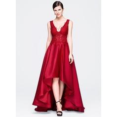 Vestidos princesa/ Formato A Decote V Assimétrico Cetim Renda Vestido de festa