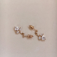 Ladies' Sparking Gold Plated/Brass With Cubic Cubic Zirconia Earrings For Bridesmaid/For Friends