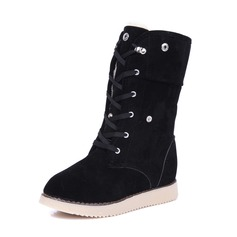 Vrouwen Suede Wedge Heel Closed Toe Wedges Laarzen Half-Kuit Laarzen met Klinknagel Vastrijgen schoenen