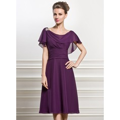A-Line Cowl Neck Knee-Length Chiffon Mother of the Bride Dress With Beading Sequins Cascading Ruffles (008056825)