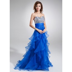 A-Line/Princess Sweetheart Sweep Train Organza Sequined Prom Dress With Cascading Ruffles
