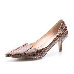 Patent Leather Low Heel Pumps Closed Toe schoenen