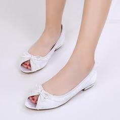 Women's Silk Like Satin Low Heel Flats Peep Toe With Bowknot Stitching Lace
