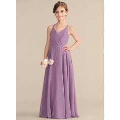 A-Linie V-Ausschnitt Bodenlang Chiffon Kleider für junge Brautjungfern mit Gestufte Rüschen